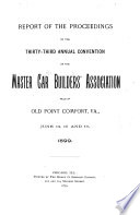 Report of the Proceedings of the     Annual Convention of the Master Car Builders  Association