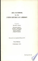 Area Handbook for the United Republic of Cameroon Book PDF