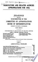 Agriculture and Related Agencies Appropriations Book
