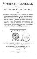 Journal general de la litterature de France