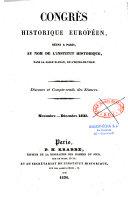 Congrès historique européen, réuni à Paris, au nom de l'institut historique...