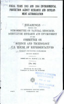Fiscal Years 1983 and 1984 Environmental Protection Agency Research and Development Authorization