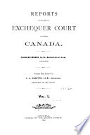 Reports of the Exchequer Court of Canada Book PDF