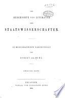 Die Geschichte und Literatur der Staatswissenschaften
