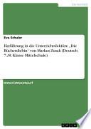 """Einführung in die Unterrichtslektüre """"Die Bücherdiebin"""" von Markus Zusak (Deutsch 7./8. Klasse Mittelschule)"""