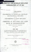 Elementary and Secondary Education Consolidation Act of 1981