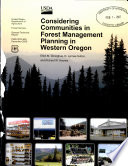 Considering Communities in Forest Management Planning in Western Oregon