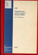National Security And The Concept Of Strategic Stability