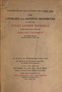 Catalogue     of the Literary and Artistic Property of the Late Evert Jansen Wendell