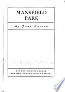 The Adelphi Edition of the Works of Jane Austen: Mansfield park