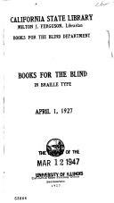 Books for the Blind in Braille Type