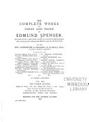 The Complete Works in Verse and Prose of Edmund Spenser: The Faerie queene. bk v-vi. Two cantos of Mvtabilitie. Letter to Sir Walter Raleigh. Commendatory poems and sonnets