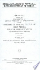Implementation of Appraisal Reform Sections of FIRREA