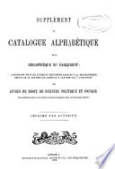 Annual Supplement to the Catalogue of the Library of Parliament in Alphabetical and Subject Order
