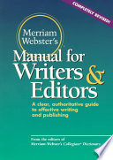 Merriam Webster s Manual for Writers and Editors Book