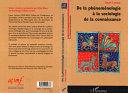 Pdf De la phénoménologie à la sociologie de la connaissance Telecharger
