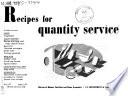 Recipes for Quantity Service Book PDF