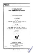 Investigation of Korean-American Relations: Supporting documents