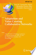 Adaptation And Value Creating Collaborative Networks Book PDF