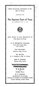 Rules Governing Admission to the Bar of Texas