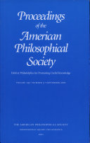 Proceedings, American Philosophical Society (vol. 145, no. 3, 2001)