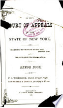 Court of Appeals of the State of New York  Error Book