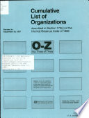 Cumulative List of Organizations Described in Section 170  c  of the Internal Revenue Code of 1954 Book