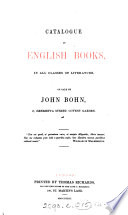CATALOGUE OF ENGLISH BOOKS  IN ALL CLASSES OF LITERATURE