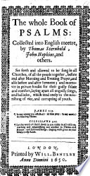 The Whole Book Of Psalms Collected Into English Meetre By Thomas Sternhold John Hopkins And Others