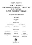 A Dictionary of Anonymous and Pseudonymous Publications in the English Language  1475 1640