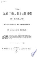 The Last Trial for Atheism in England Book