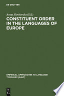 Constituent Order In The Languages Of Europe