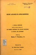Recent Advances in Astro geophysics