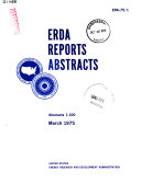 ERDA Reports Abstracts