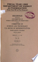 Fiscal year 1985 Department of Energy authorization