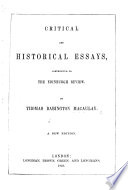 Critical and Historical Essays     A new edition