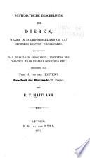 Systematische beschrijving der dieren, welke in Noord-Nederland of aan deszelfs kusten voorkomen, met bijvoeging van derzelver synonymen, benevens der plaatsen waar dezelve gevonden zijn