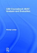 Analysis and Evaluation 2006 2007
