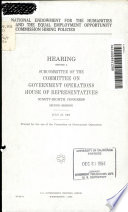 National Endowment for the Humanities and the Equal Employment Opportunity Commission Hiring Policies Book