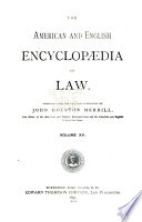 The American and English Encyclopædia of Law: Mechanics' liens to Municipal securities