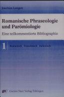 Romanische Phraseologie und Parömiologie