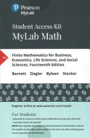 Finite Mathematics Business, Economics, Life Sciences, and Social Sciences MyLab Math Access Code