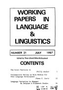 Working Papers in Language   Linguistics