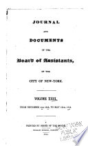 Journal and Documents of the Board of Assistants, of the City of New York