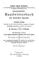Johann August Eberhard's Synonymisches Handwörterbuch Der Deutschen Sprache