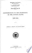 Contributions to the Hydrology of the United States  1923 1924