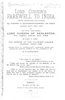 Lord Curzon s Farewell to India