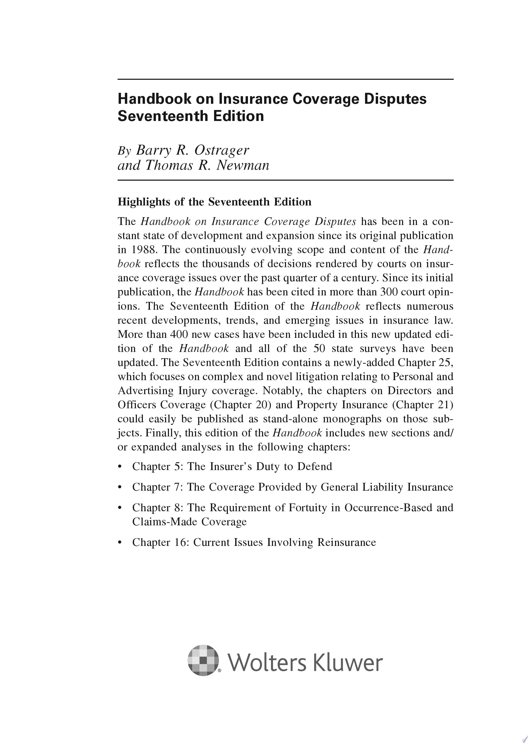 Handbook on Insurance Coverage Disputes 17e  3 Volumes