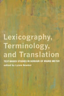Lexicography, Terminology, and Translation: Text-based ...