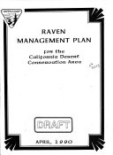 Pdf Raven Management Plan for the California Desert Conservation Area
